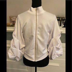 White Jacket with Puff Sleeves and front Zipper